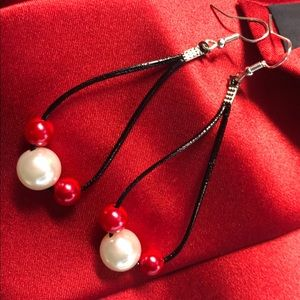 Handmade Faux Leather Hoops w Red & White Acrylic
